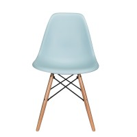 Nature Series Ice Blue DSW Molded Plastic Dining Chair Natural Beech Wood Eiffel Leg