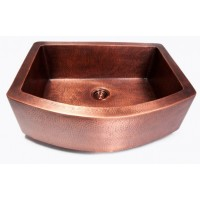 Hand Hammered Finish Copper Single Bowl Curved Front Farmhouse Apron Kitchen Sink - 33 x 24-1/2 x 10 Inch