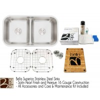 Bella 33 Inch Premium 16 Gauge Low Dam Divider 50/50 Double Bowl Kitchen Sink with FREE ACCESSORIES