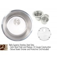 Bella 18 Inch Stainless Steel Single Bowl Kitchen Sink - Premium 16 Gauge Bella Series w/ FREE ACCESSORIES