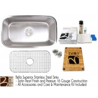 Bella 32 Inch Stainless Steel Single Bowl Kitchen Sink - Premium 16 Gauge Bella Series w/ FREE ACCESSORIES