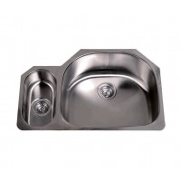 32 Inch Stainless Steel Undermount Double D-Bowl Offset Kitchen Sink - 16 Gauge
