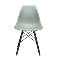 Nature Series Moss Gray DSW Molded Plastic Dining Chair Dark Walnut Wood Eiffel Leg