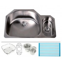 Ariel Pearl 32 Inch Premium 16 Gauge Stainless Steel Undermount 80/20 D-Bowl Offset Kitchen Sink with FREE ACCESSORIES