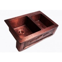 Artist Design Hand Hammered Finish Copper Single Bowl Flat Front Farm Apron Kitchen Sink - 33 x 22 x 9 | 7 Inch