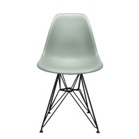 Nature Series Moss Gray DSR Mid-Century Modern Dining Chair with Black Eiffel Steel Leg