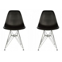 2 X Eames Style DSR Dining Shell Chair with Steel Eiffel Legs in Black