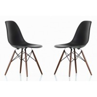 2 X DSW Dining Shell Chair with Dark Walnut Eiffel Legs in Black