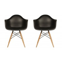 2 X DAW Dining Armchair with Wood Eiffel Legs in Black