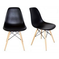 2 X Eames Style DSW Dining Shell Chair with Wood Eiffel Legs in Black