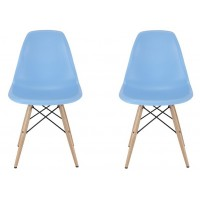 2 X Eames Style DSW Dining Shell Chair with Wood Eiffel Legs in Sky Blue