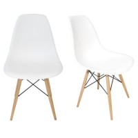 2 X DSW Dining Shell Chair with Wood Eiffel Legs in White