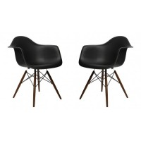 2 X DAW Dining Armchair with Dark Walnut Eiffel Legs in Black