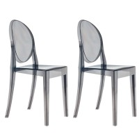 2 X Victoria Style Smoke Color Ghost Dining Chair