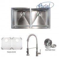 Ariel 37 Inch Stainless Steel Undermount Double Bowl 50/50  Kitchen Sink with Ariel Stainless Steel Faucet