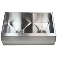 33 Inch Stainless Steel Well Angled Front Farmhouse Apron Kitchen Sink 60/40 Double Bowl
