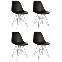 4 X Eames Style DSR Dining Shell Chair with Steel Eiffel Legs in Black