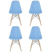 4 X Eames Style DSW Dining Shell Chair with Wood Eiffel Legs in Sky Blue