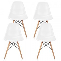 4 X Eames Style DSW Dining Shell Chair with Wood Eiffel Legs in White