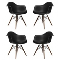 4 X DAW Dining Armchair with Dark Walnut Eiffel Legs in Black
