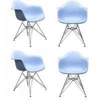 4 X DAR Dining Armchair with Steel Eiffel Legs in Sky Blue