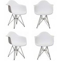 4 X DAR Dining Armchair with Steel Eiffel Legs in White