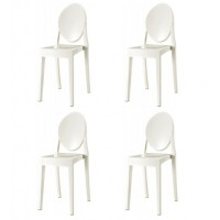 4 X Victoria Style White Color Ghost Dining Chair