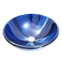 16-1/2 Inch Blue Vortex Design Glass Countertop Bathroom Lavatory Vessel Sink