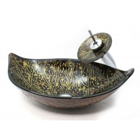 Golden Foliage Bathroom Vessel Glass Sink and Waterfall Faucet Combo