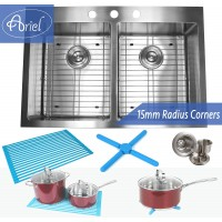 33 Inch Top-Mount / Drop-In Stainless Steel Double Bowl Stainless Steel Kitchen Sink 15mm  Radius Design Premium Combo Package