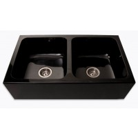 Absolute Black Stone Granite Flat Apron Farm Kitchen Sink - 33 x 19 x 8 Inch