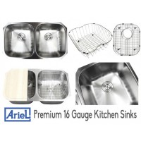 Ariel Pearl 32 Inch Premium 16 Gauge Stainless Steel Undermount 50/50 Double Bowl Kitchen Sink with FREE ACCESSORIES