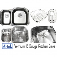 Ariel Pearl 32 Inch Premium 16 Gauge Stainless Steel Undermount 30/70 D-Bowl Offset Kitchen Sink with FREE ACCESSORIES