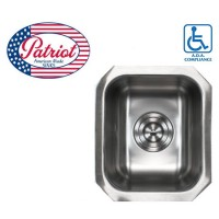 14 Inch Patriot Premium 18 Gauge Stainless Steel Undermount Single Bowl Kitchen / Bar / Prep Sink
