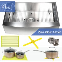 Ariel 36 Inch Stainless Steel Curved Front Farm Apron Single Bowl Stainless Steel Kitchen Sink Premium Package 15mm Radius Design