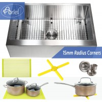 Ariel 33 Inch Stainless Steel Flat Front Farm Apron Single Bowl Stainless Steel Kitchen Sink Premium Package 15mm Radius Design