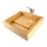 Delightful - Bamboo Countertop Bathroom Lavatory Vessel Sink - 17 x 19 Inch