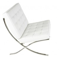 Rohe Style Classic Designer Pavilion Chair In White Top Grain Leather