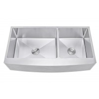 Ariel 42 Inch 60/40 Offset Double Bowl Farmhouse Apron Front Stainless Steel Kitchen Sink - 15mm Radius Coved Corners