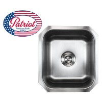 17 Inch Patriot Premium 18 Gauge Stainless Steel Undermount Single Bowl Kitchen / Bar / Prep Sink