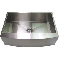 33 Inch Stainless Steel Curved Front Farm Apron Kitchen Sink - Single Bowl
