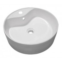 18.5 Inch Round Porcelain Ceramic Single Hole Countertop Bathroom Vessel Sink