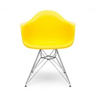 Eames Style DAR Dining Armchair with Steel Eiffel Legs in Citrus Yellow