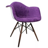 Designer Purple Velvet Fabric Accent Arm Chair with Dark Walnut Wood Eiffel Legs