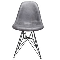 Markle Cool Gray Leatherette Fabric Upholstered DSR Dining Side Accent Chair with Black Steel Leg