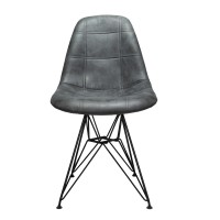 Moomin Checkerboard Cool Gray Leatherette Fabric Upholstered DSR Dining Side Accent Chair with Black Steel Leg