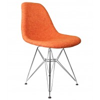 Designer Orange Fabric Upholstered Mid-Century Style Accent Side Dining Chair