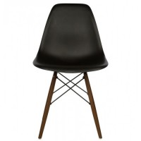 DSW Dining Shell Chair with Dark Walnut Eiffel Legs in Black