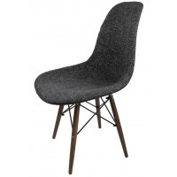 Designer Black Fabric Upholstered Style Accent Chair With Dark Walnut Wood Eiffel Legs