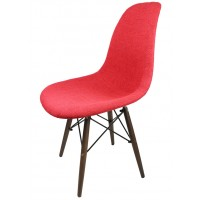 Designer Red Fabric Upholstered Eames Style Accent Chair With Dark Walnut Wood Eiffel Legs